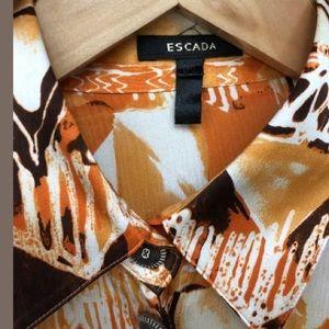 ESCADA SZ 6 Orange Brown White Print Silk Top Bows